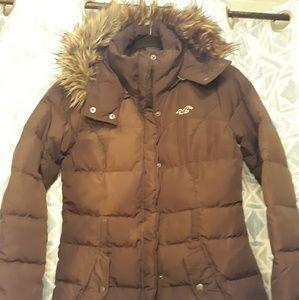 Hollister brown puff coat